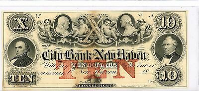 The City Bank New Haven  $ 10 Dollars 18XX  State Of Connecticut
