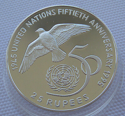 Seychelles 25 Rupees 1995 United Nations 50th Anniversary Silver Proof
