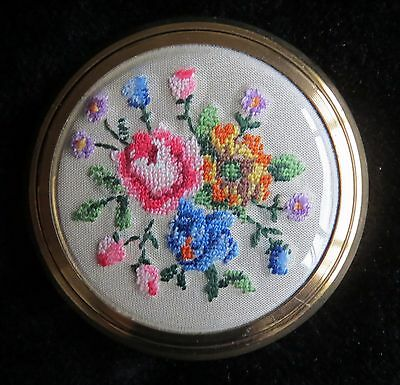 Vintage Kigu powder compact with beautiful petit point embroidered panel