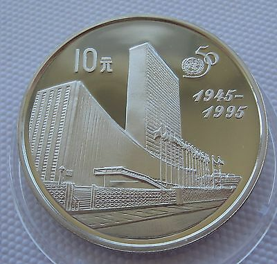 China 10 Yuan 1995 50th Anniversary United Nations UN Silver Proof