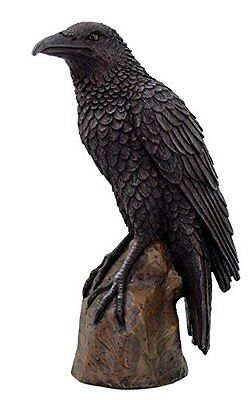 Black Raven Bird on Stump Statue Cold Cast Resin Figurine