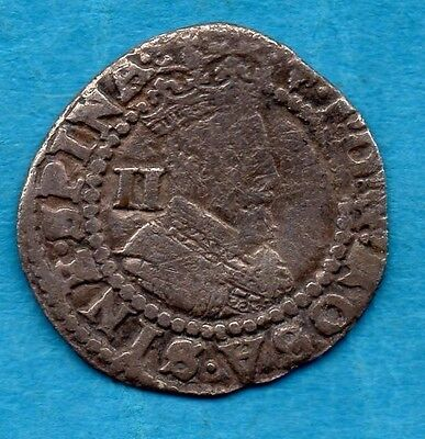 Hammered Silver Half Groat (Two Pence) Coin.  King James I. (1603 - 1625)