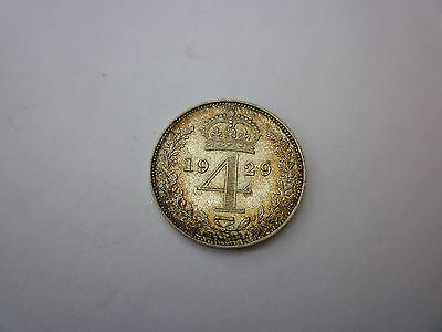 George V Maundy Fourpence Coin Dated 1929 V.High Grade (EF/UNC?)