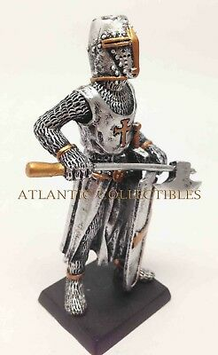 """Axeman Statue Medieval Knight of Valor Crusader 4"""" Tall Figurine Miniature Armor"""