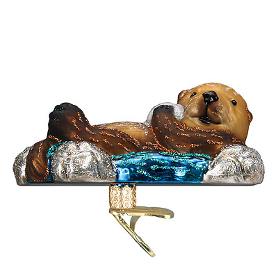 """""""Floating Sea Otter"""" (12506) Old World Christmas Glass Ornament w/ OWC Box"""