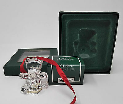MARQUIS WATERFORD CRYSTAL Gift Bear Christmas Ornament NEW Fifth in a Series
