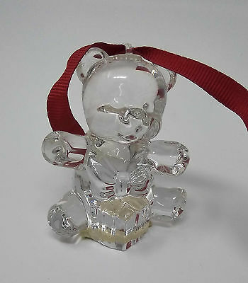 MARQUIS WATERFORD CRYSTAL Gift Bear Christmas Ornament Fifth in a Series