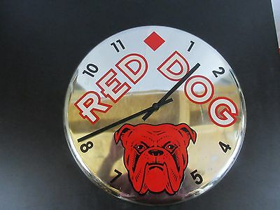 "Red Dog Beer Chrome 18"" Wall Clock Planck Road Brewery Battery Operated WORKS!"