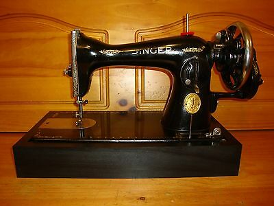 Antique Singer Sewing Machine Model 15-90 ,hand Crank,leather,serviced