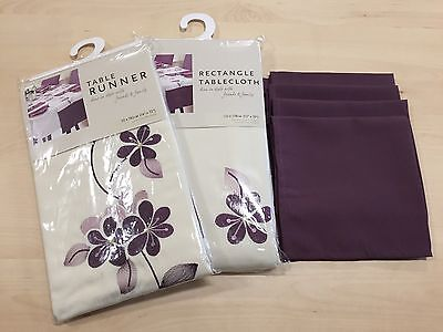 DUNELM - NEW Plum Cream Floral Dining Table Set - Tablecloth + Runner + Napkins