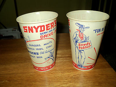 Original 1950s Snyder's Drive-In NOS Wax Cup with LAS VEGAS VIC Howdy Podner