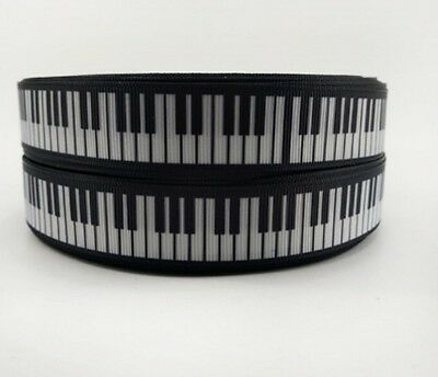 """1m Piano / Keyboard / Music / Pianist Ribbon 7/8"""" 22mm for crafting and cakes"""