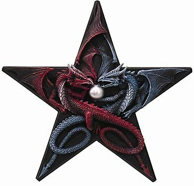 11 Inch Red Fire and Ice Blue Dragons Pentagram Wall Plaque Statue Figurine