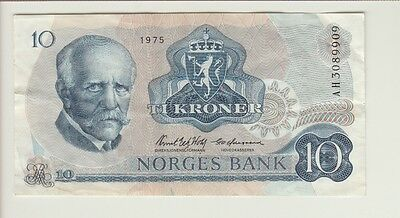 NORWAY CAT# 36b 10 KRONER 1975 VERY FINE