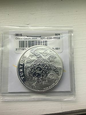 2015 Niue 2 Dollar 1oz .999 Fine Silver Turtle Coin