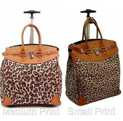 """Rolling Fashion Travel Luggage Foldable Carry-on Leopard 14"""" Laptop Tote Bag"""