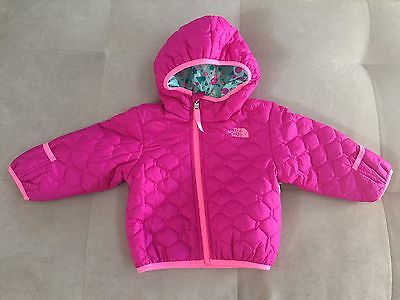 North Face Jacket Coat Hooded Reversible Sz 6-12 Month Girls Pink Purple Green