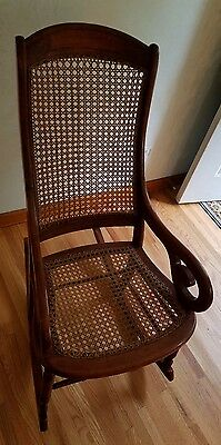 Antique Primitive Country Style Cherry? Rocker Rocking Chair Caned Back & Seat