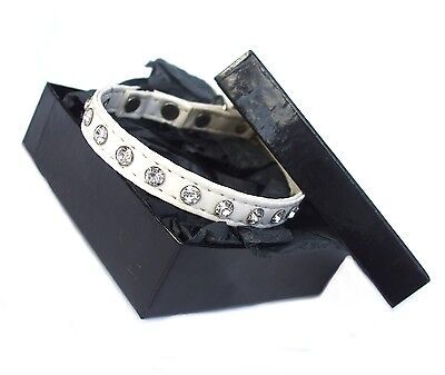Diamante Crystal Designer SAFETY CAT COLLAR in White, Rose, Black BNWT