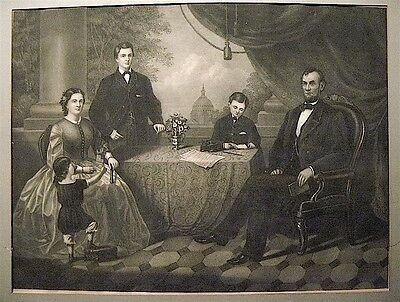 Historic Americana, Lincoln Family Portrait, Lithograph by Thos. Kelly, 1866