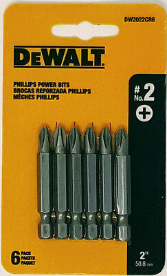 "DEWALT DW2022CR6 #2 Phillips 2"" Long Power Bits"