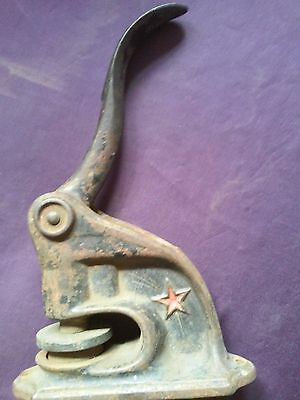 HTF Antique Vintage Cast Iron Notary Stamp Seal Embosser With 5 Point Red Star