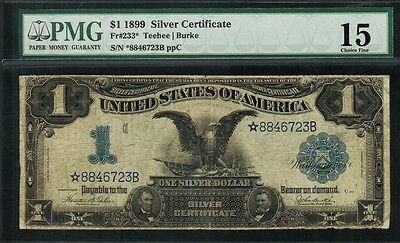 "1899 $1 Silver Certificate FR-233* - ""Star Note"" - Graded PMG 15"
