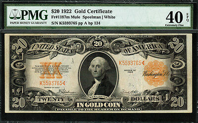 1922 $20 Gold Certificate FR-1187 Mule - Graded PMG 40 EPQ - Extremely Fine