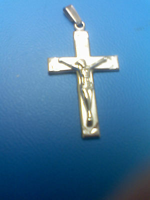 Sterling Silver Cross,part Satin Finish. Figure Of Jesus On The Front