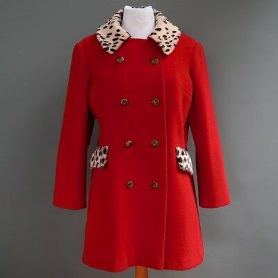 VTG Fire Engine Red Wool Faux Leopard Fur Double Breasted Coat Jacket S M