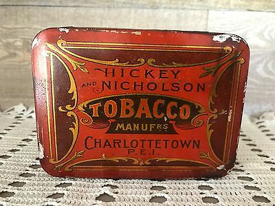 Vintage Hickey and Nicholson Tobacco Tin Charlottetown PEI Early 1900's