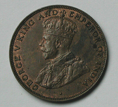 1926 HONG KONG (British) George V Coin - 1 Cent - AU+ brown - trace lustre
