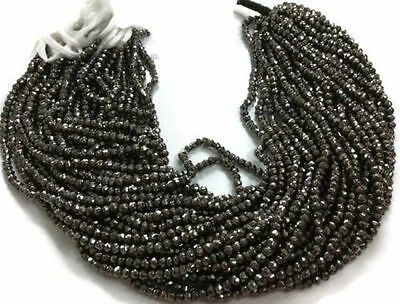 """2 Strand Black Pyrite Gemstone Faceted Rondelle Beads 3.5-4mm bead 13"""" Long"""