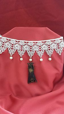 SALE*White Lace Taxidermy Bat Choker Necklace-goth-steampunk-witch-Halloween