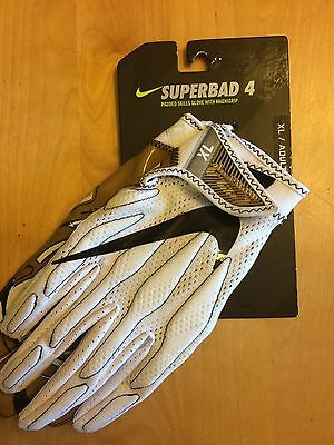 NWT Nike Superbad 4 Men's Adult Football Gloves White Gold GF0494 100 Sz XL