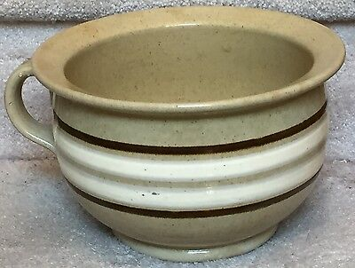 Antique Banded Yellow Ware Chamber Pot w/Applied Handle ~ VERY RARE STONEWARE!