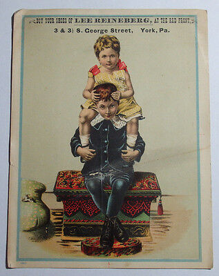 1800's Victorian Trade Card Lee Reinberg Shoes 3 & 3 1/2 S George St York Penn