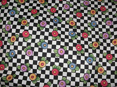 """NEW MARY ENGELBREIT 36"""" x 45"""" BLACK & WHITE CHECK FABRIC W/ MULTI COLOR FLOWERS"""