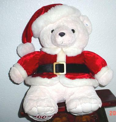 """2003 Kmart CHRISTMAS TEDDY BEAR Boy 20"""" White Bear Red Outfit New condition nice"""