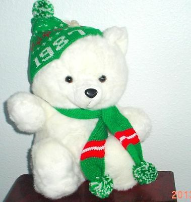 """1987 Kmart CHRISTMAS TEDDY BEAR White Boy 20"""" K mart Green Outfit WOT Nice Used"""