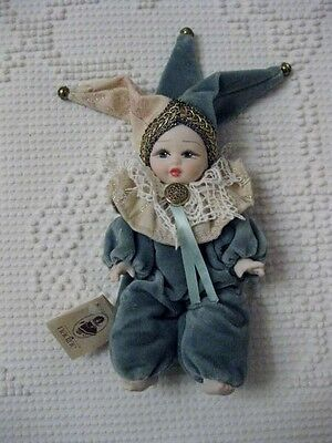 """Bisque Porcelain China Doll 7"""" Venetian Clown Costume Made In Italy By Nadine"""