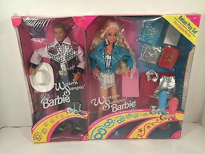 Western Stampin' Barbie Ken Doll Deluxe Doll Play Set 1993