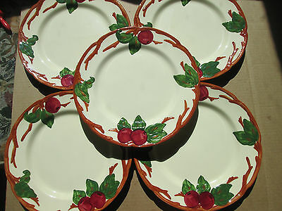 "Lot of 5 Franciscan Apple Pattern Dinner Plates 10 1/2"" USA Almost MINT Vintage"