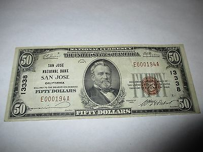 $50 1929 San Jose California CA National Currency Bank Note Bill! Ch. #13338 VF