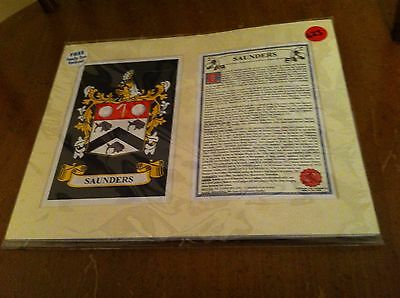 Heraldry Names Saunders family crest history family tree Genealogy Coat of arms