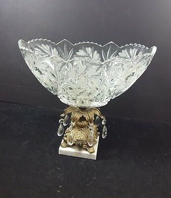 Antique Glass crystal bowl compote on brass Pedestal/marble base/prisms pinwheel