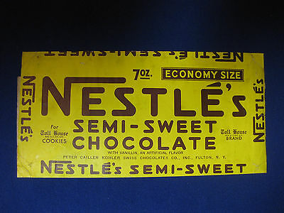Early 40s Nestle's semi-sweet chocolate wrapper, 7oz. Economy Size, Toll House