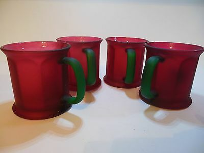 Vintage Cranberry Red Glass Mugs Green Handles Octagon Shape USA Set 4 Unique!!