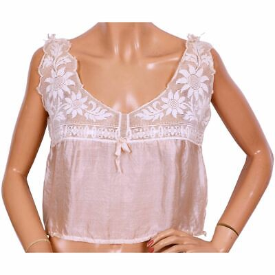 Antique Pink Silk and Lace Camisole Top Size Medium