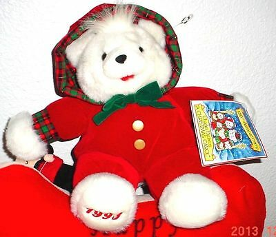 """1993 KMART CHRISTMAS TEDDY BEAR A Girl Bear 15"""" White W/Red Outfit NWOT Cutest"""